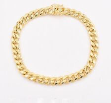 "7.2mm Mens Miami Cuban Link Bracelet Box Clasp Real 10K Yellow Gold 8.5"""