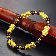 Fashion Women Men Chinese Feng Shui Gold Pixiu Beads Garnet Bracelet Cuff Bangle