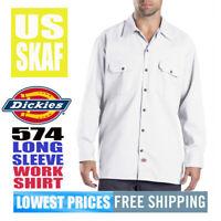 Dickies Men's NWT 574 Original Relax Fit Long-Sleeve Work Shirt WHITE LARGE