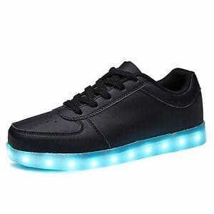 Black Shoes Usb Charging Kids Boy Girl Led Light Up Glowing Luminous Sneakers
