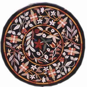 Pietra Dura Black Marble Top Table Rare Inlay Antique Mosaic Collectible AZ5169