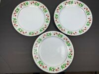 """Lot of 3 Royal Norfolk China Christmas Holly Pattern 10"""" Gold Edge Dinner Plate"""