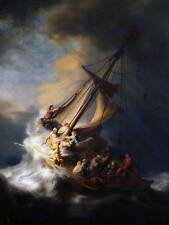 REMBRANDT CHRIST IN STORM ON LAKE OF GALILEE OLD ART PAINTING PRINT 2623OM