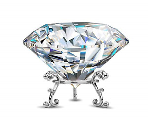 Large Crystal Diamond Paperweight with Stand Jewels Wedding Decorations Home