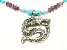 """TURQUOISE AND AMETHYST DRAGON GEMSTONE NECKLACE 48CM """"NEW"""" AUZ MADE NL5"""