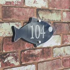 Fish House Sign Home Plaque Door Number Street Address