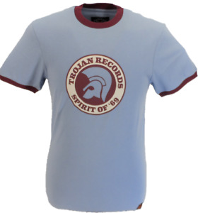 Trojan Records Mens Sky Blue Spirit of 69 100% Cotton Peach T-Shirt