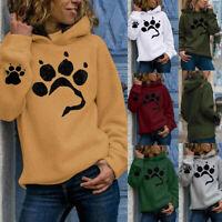 Women Hooded Sweatshirt Paw Print Pullover Ladies Warm Hoodies Tops Loose Jumper