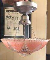 Antique Beautiful hanging glass shade   Art Deco light fixture chandelier