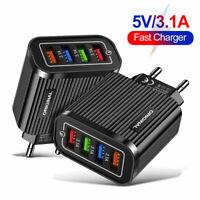 Schnell Ladegerät Stecker 4X USB Port Netzteil Adapter 5V 3A Für Handy Tablet DE