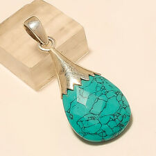 Natural Afghan Turquoise Pendant 925 Sterling Silver Handmade Fine Jewelry Gifts