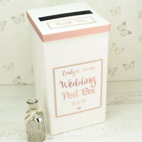 Personalised Rose Gold Sparkle Glitter Wedding Card Post Box