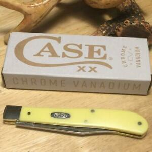 """Case Slimline Trapper Yellow Synthetic 4 1/8"""" Pocket Knife Made in USA CA031"""