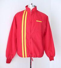 Vgc Vtg 60s 70s Red Yellow Racing Stripe Nylon Windbreaker Jacket Chesterton Xl