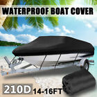 14 15 16 Ft Waterproof Trailerable Boat Cover V-hull Fishing Ski Storage W Bag