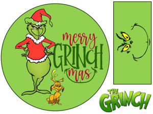 """THE GRINCH CHRISTMAS INSPIRED 6"""" / A3 EDIBLE ICING CAKE TOPPER"""