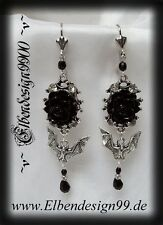 ^v^Ohrschmuck*Rose & Vampire*larp*Gothic*earrings*bat*Fledermaus*Strass*black^v^