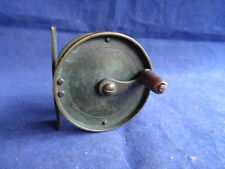 "A GOOD VINTAGE 2 3/8"" UNNAMED BRASS ANTI-FOUL TROUT FLY REEL"