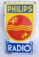 Philips Radio Cut Shape Porcelain Enamel Sign Store Display Rare Vintage Old
