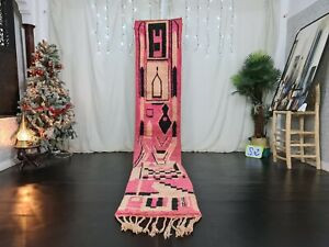 "Moroccan Handmade Boujaad Runner Rug 2'1""x11'7"" Berber Abstract Pink Wool Carpet"