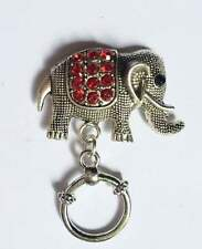 Sparkly Red Elephant  Magnetic ID Badge Eyeglass Holder, Magnetic Pin Brooch