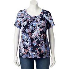 New! Woman Plus Croft & Barrow Pleated Navy Blue Paisley Top Shirt Blouse Sz 1X