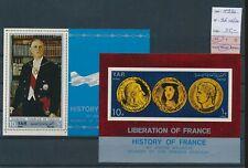 LM45235 Yemen 1970 perf/imperf Charles de Gaulle sheets MNH cv 35 EUR