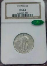 1927-D Standing Liberty Quarter NGC MS64 CAC Cert. Silver Coin