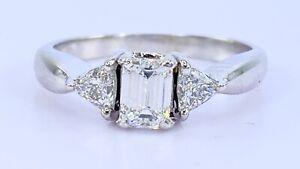 .88 ct DIAMOND emerald triangle three stone engagement ring 14k white gold VIDEO
