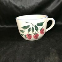 Vintage Strawberry Decor Ceramic Stoneware Soup Cup Mug Bowl