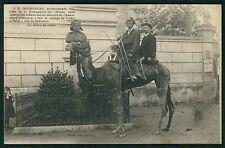 Globetrotter Doussineau on Camel circus theme original old 1910s postcard