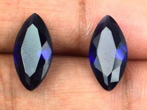 Blue Sapphire Natural 4.05 Carat/13mm Gemstone Pair Marquise Cut AGI Certified