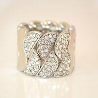 ANELLO donna ARGENTO da cerimonia CRISTALLI elegante elastico ring anillo 29A