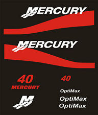 Adesivi motore marino fuoribordo Mercury bande rosse 40 cavalli hp 2 t optimax