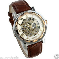 Luxury Mans Leather Band Stainless Skeleton Mechanical Wrist Watch Stylish