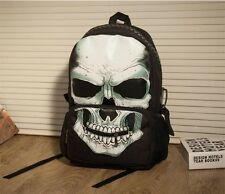 Cool New Men Women Big Zipper Nylon Punk Skull Backpack Schoolbag Shoulder Bag