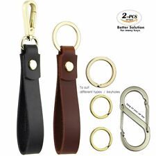 Leather Car Key Chain for Men and Women - Kit Includes Black Valet Key Chain Fob