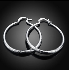 Womens Gracious 925 Sterling Silver 40mm Classic Round Hoop Earrings #EA56