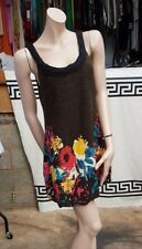 Lovely Stone Size S Black Wooly Jumper Dress Tonic close Hem Floral Pattern
