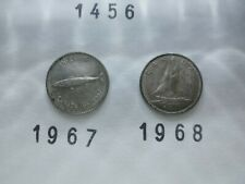 Lot 1456: CANADA Silver dimes 10 cents (2) 1967 1968 FREE SHIPPING