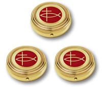 Set of 3 Ichthus Cross Gold Tone Pyx for Catholic Christian Communion for Hosts