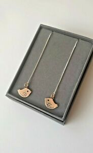 Rose Gold Birdie Threader chain long Sterling Silver earrings