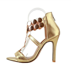 Womens Shiny Shoes Synthetic Leather High Heels Zip Strappy Sandals AU Size S971