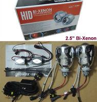 "2.5"" Universal Car Headlights HID Bi-Xenon Projector Lens Kit Halo Angel Eye 35W"
