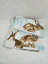 Williams Sonoma Cloth Table Napkins Blue Damascus With Bunnies Set of 4