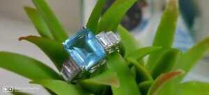 3Ct Emerald Cut Aquamarine Diamond Women's Engagement Ring 14K White Gold Finish