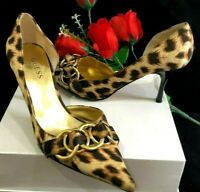 GUESS BY MARCIANO LEOPARD ANIMAL PRINT D'ORSAY PUMPS FORTUNA CHAIN BUCKLE 6.5