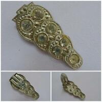 Vintage 1930s Dress Clip Brooch Rhinestone Aluminium Clear Paste Stones Ladies