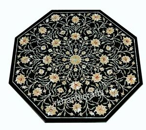 27 Inches Marble Coffee Table Top Stone Patio Table top with Pietra Dura Art