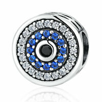 New .925 Sterling Silver Blue Evil Eye Bead Clear CZ Charm fit US Fine Jewelry